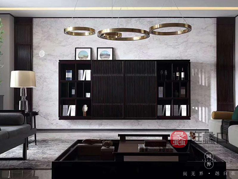 阅界新中式家具新中式客厅紫檀实木时尚艺术置物架