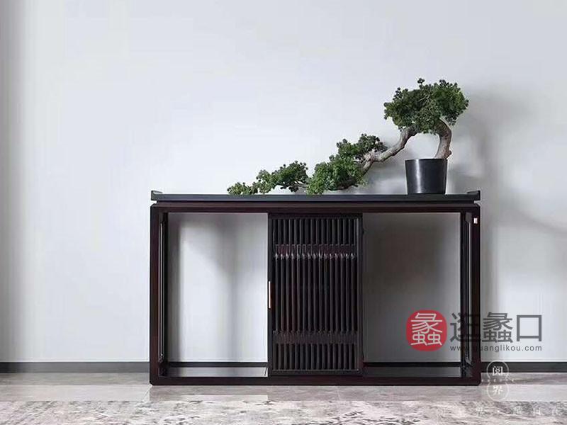 阅界新中式家具新中式客厅紫檀实木优雅简约玄关柜