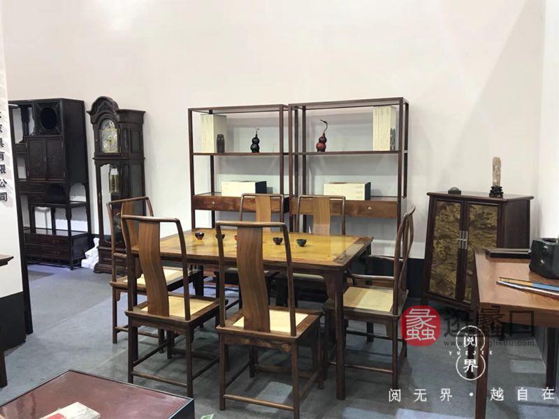 王记红木家具红木书房古典红木典雅茶台/茶几组合