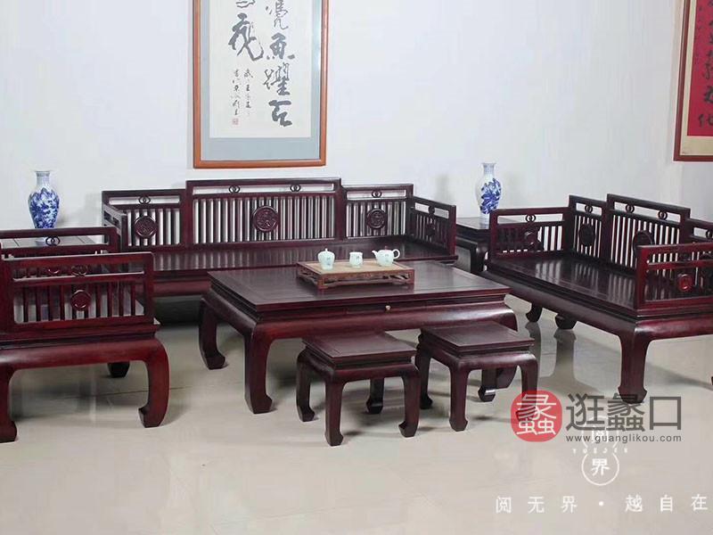 阅界新中式家具红木客厅复古大气沙发组合