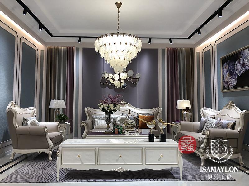 健辉家居·伊莎美伦家具欧式新古典家具欧式客厅单人位/双人位/三人位真皮实木(榉木)沙发ML009