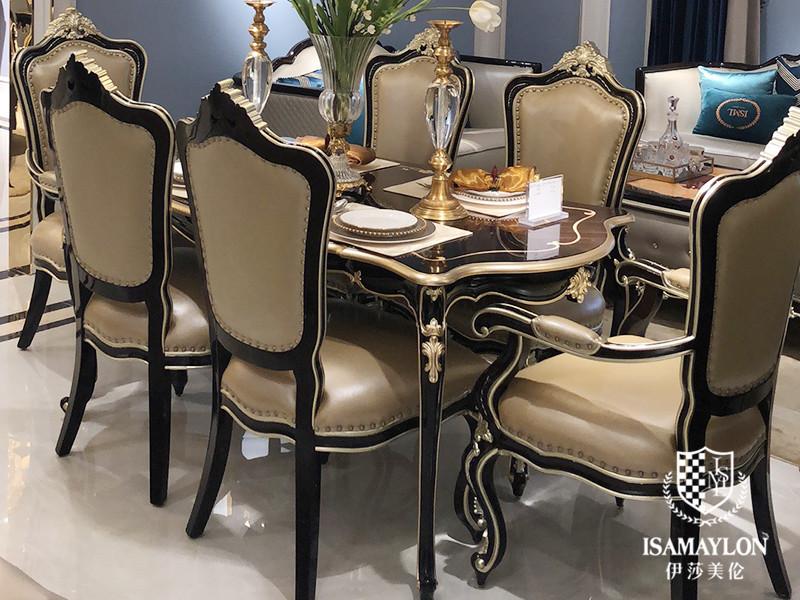 健辉家居·伊莎美伦家具欧式新古典家具欧式餐厅实木六人雅致长餐桌组合
