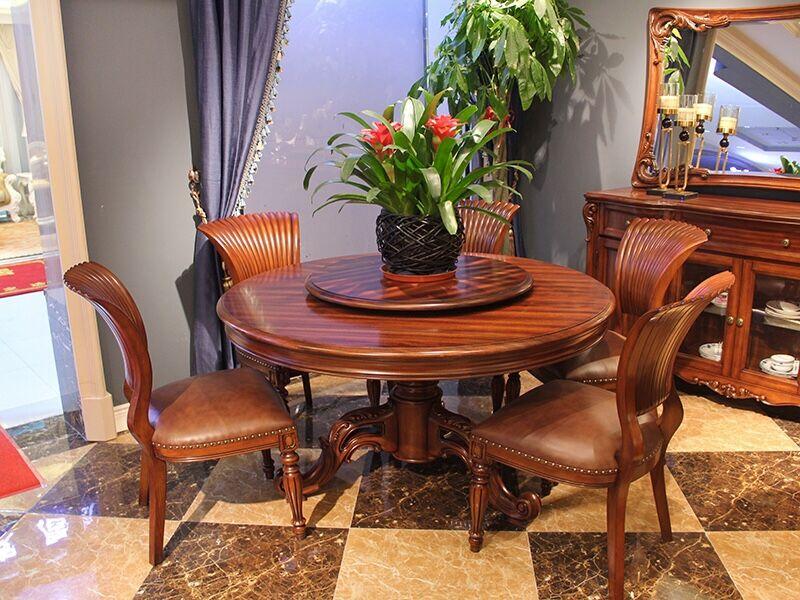 大森家私欧美餐厅实木圆餐桌椅/餐椅