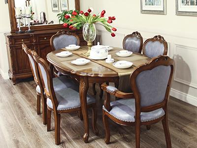 大森家私家具欧式小美餐厅德国榉木长餐桌椅/餐椅/餐边柜