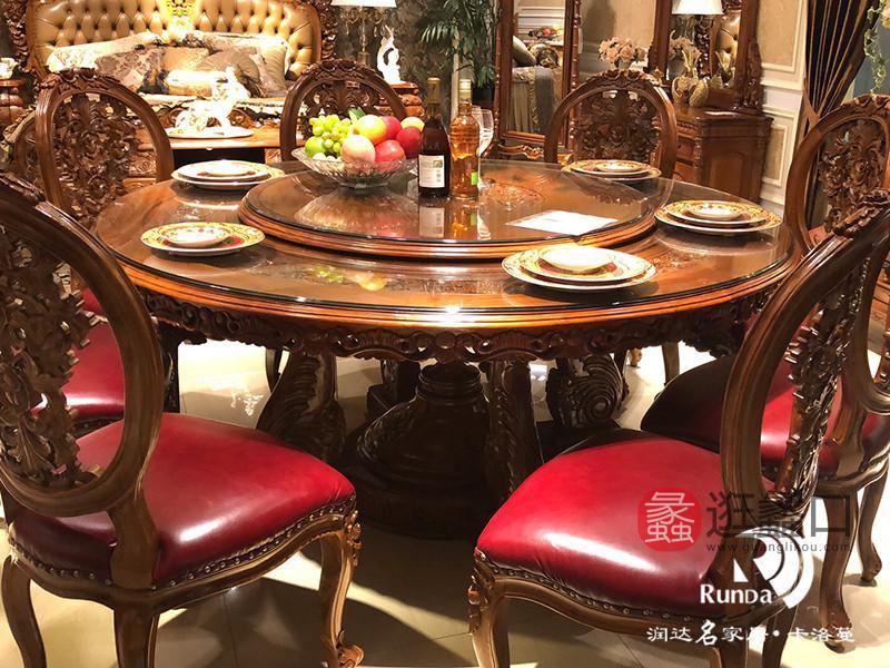 卡洛蔓·润达名家居欧式餐厅进口柚木典雅大气餐椅