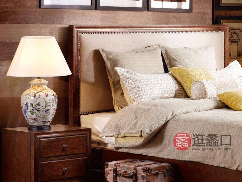 缇美家具美式卧室床红橡实木加布艺床W-607-1