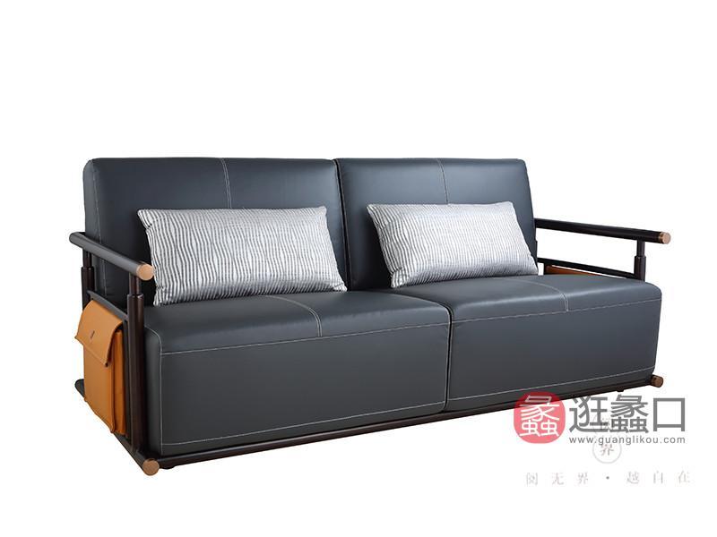阅界新中式家具新中式客厅黄檀实木优雅休闲双人沙发