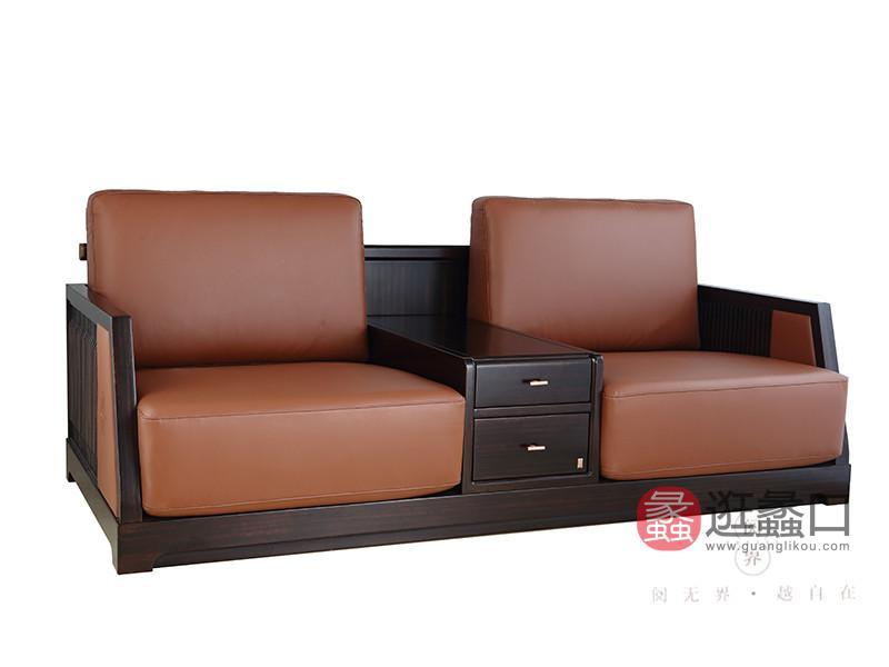 阅界新中式家具新中式客厅黄檀实木双人时尚带抽屉休闲椅