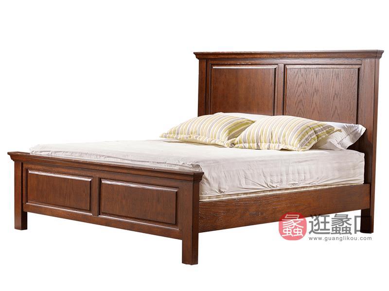 缇美家具美式卧室床红橡实木床W-607