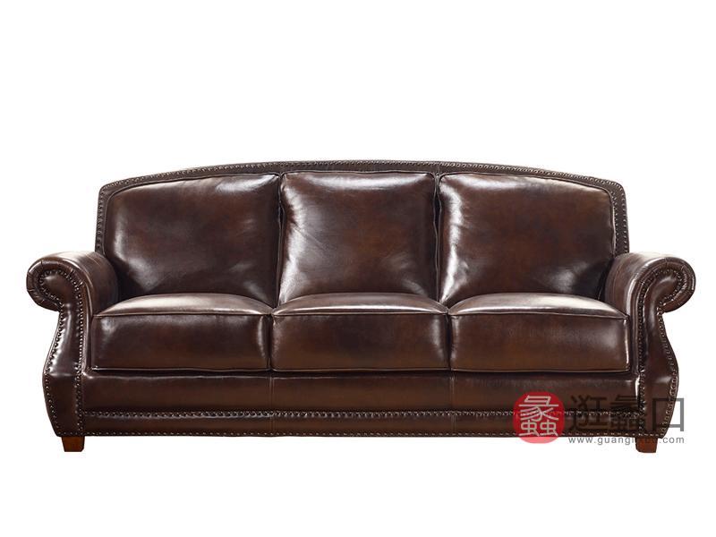 缇美家具美式客厅沙发TM-015三人位真皮沙发