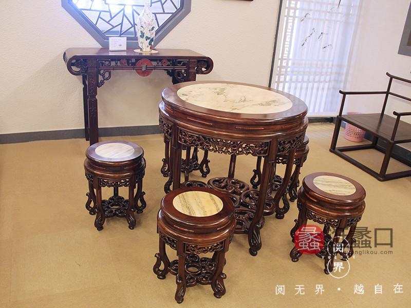 王记红木家具红木餐厅大红酸枝木典雅质朴餐桌椅