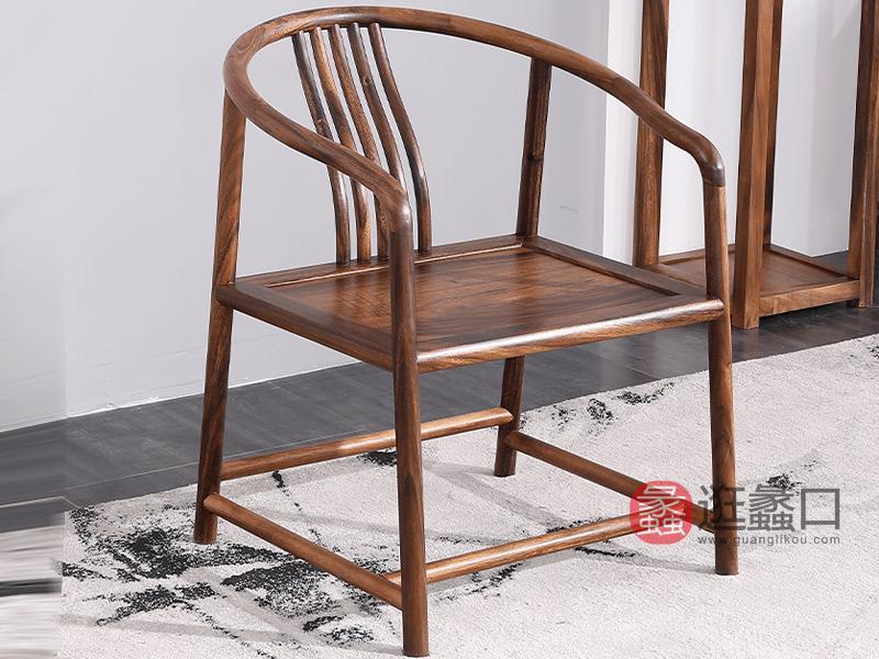 承峻家具新中式书房茶台茶桌椅实木禅意大板胡桃木简约茶桌椅主椅C款