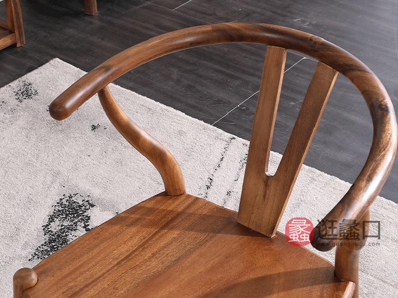 承峻家具新中式书房茶台茶桌椅实木禅意大板胡桃木茶桌椅客椅A款
