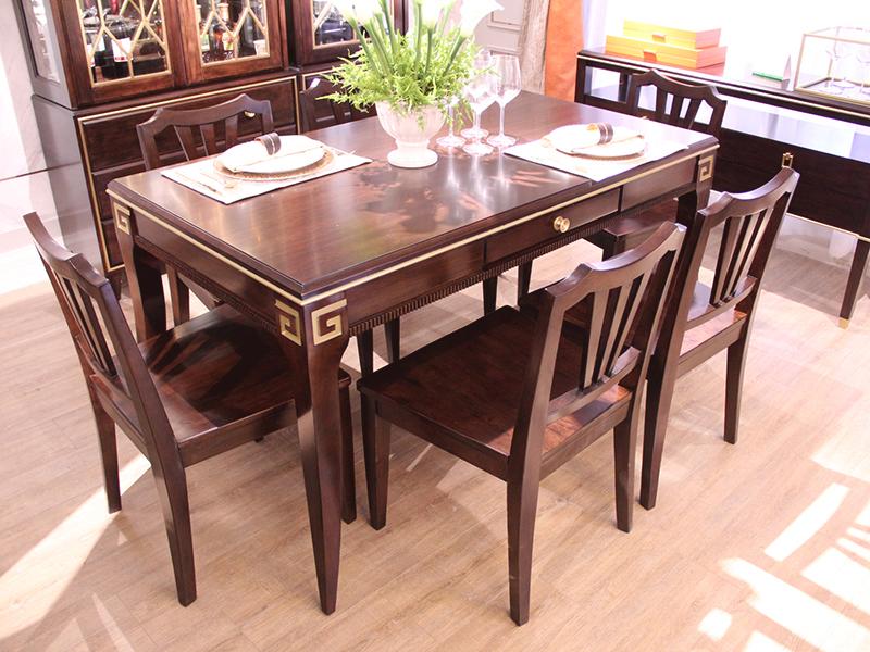 【健辉家居·圣多娜轻奢家具】轻奢新美式桃花芯木2701餐桌组7件套(1桌+6椅)