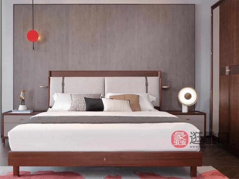 阅界新中式家具轻奢卧室床实木简奢床013床