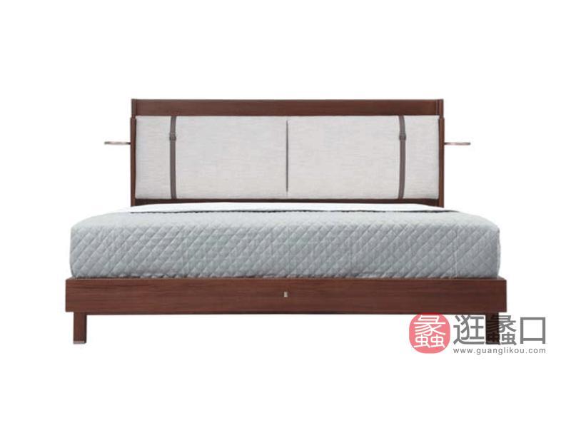 阅界新中式家具轻奢卧室床实木简奢床013-2床