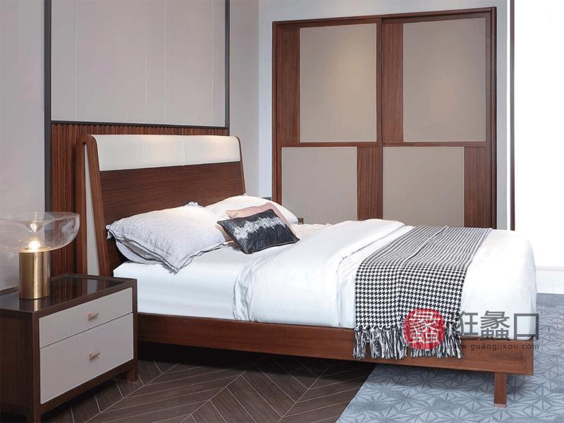 阅界新中式家具轻奢卧室床实木简奢床017床
