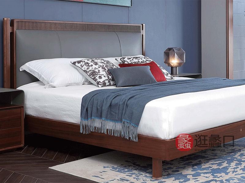 阅界新中式家具轻奢卧室床实木简奢床及床头柜组合015床+011床头柜