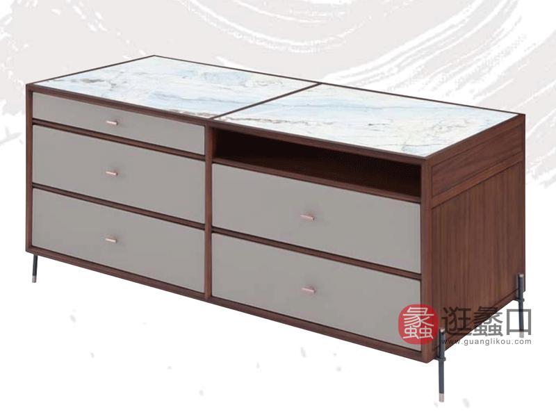 阅界新中式家具轻奢卧室斗柜/储物柜/电视柜定制尺寸001倒台