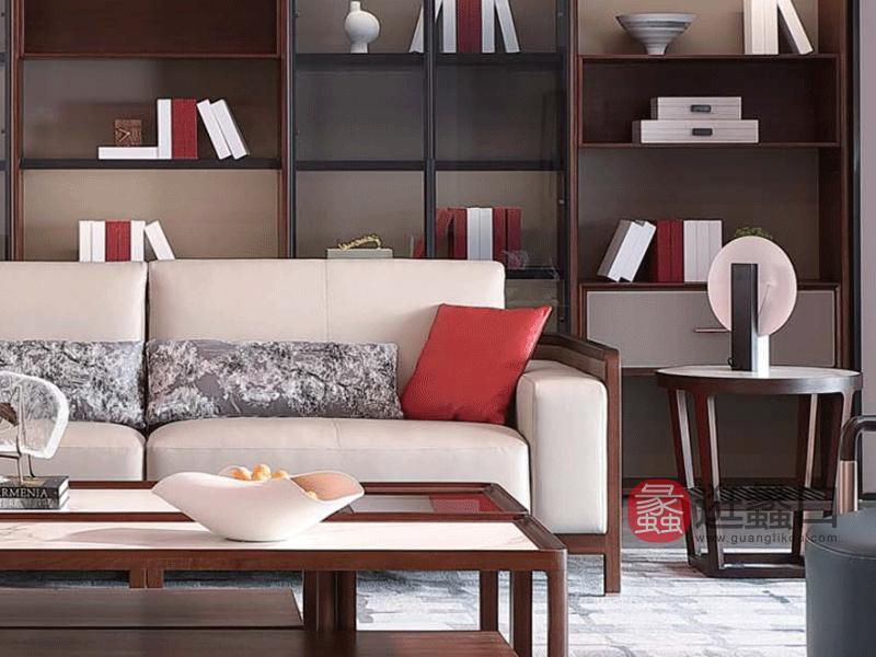 阅界新中式家具轻奢客厅沙发轻奢实木沙发025沙发两人位