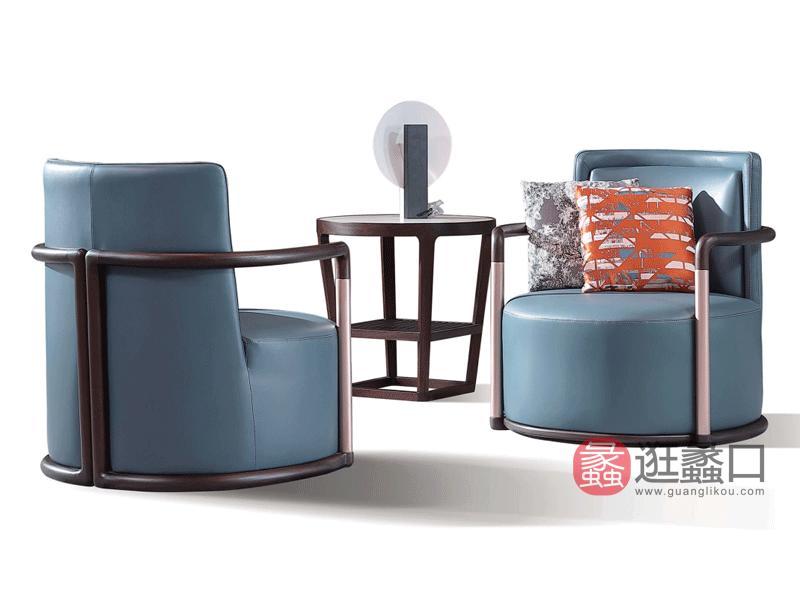 阅界新中式家具轻奢客厅休闲椅实木休闲椅007休闲椅