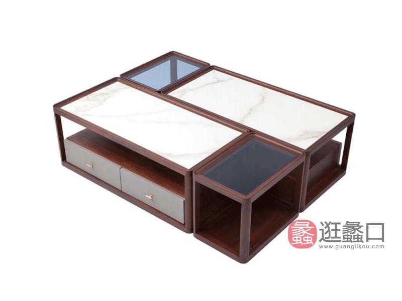 阅界新中式家具轻奢客厅茶几/边几/角几015长几+015方几组合