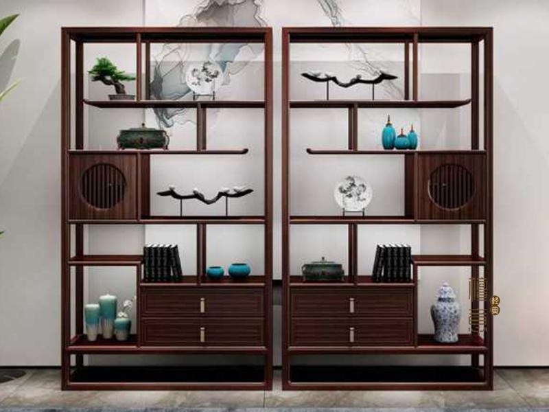 意利达·檀意家具新中式客厅实木黑檀木博古架