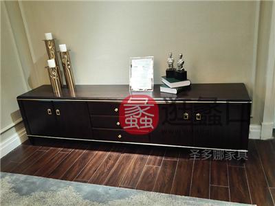 健辉家居·圣多娜轻奢家具美式客厅桃花芯木实木电视柜