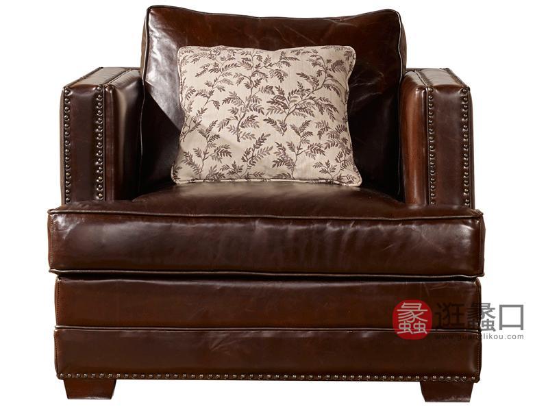 缇美家具美式客厅沙发真皮沙发TM-023单人位沙发