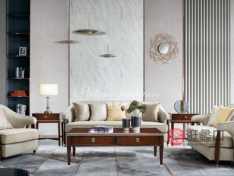 健辉家居·圣多娜轻奢家具轻奢客厅实木2608沙发1+2+3组合