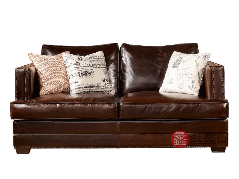 缇美家具美式客厅沙发真皮沙发TM-023两人位沙发