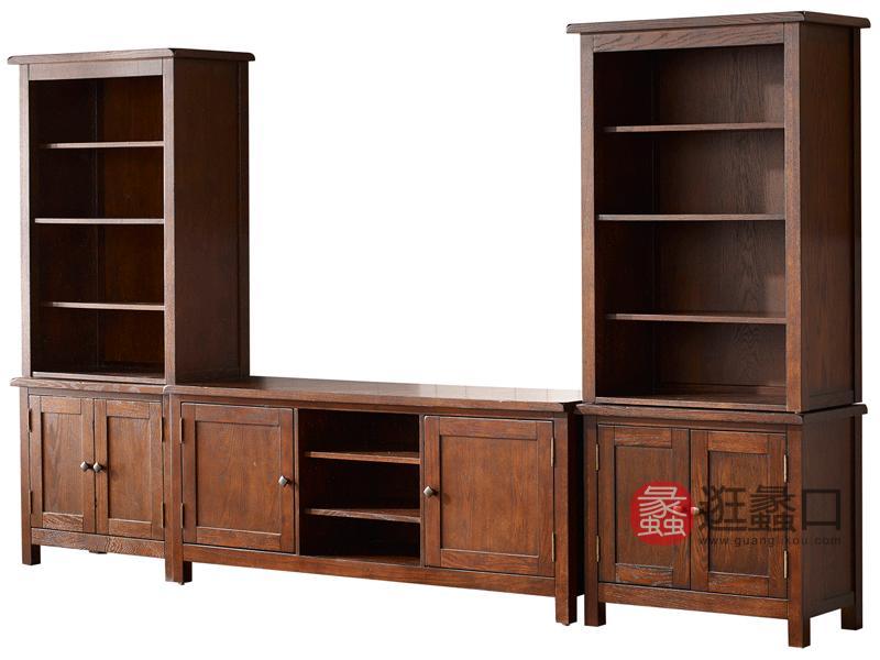 缇美家具美式客厅电视机柜红橡实木电视柜W-605主柜+W-605边柜