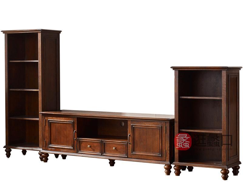 缇美家具美式客厅电视机柜W-705-1A电视柜+W-705-1B高柜+W-705-1C低柜