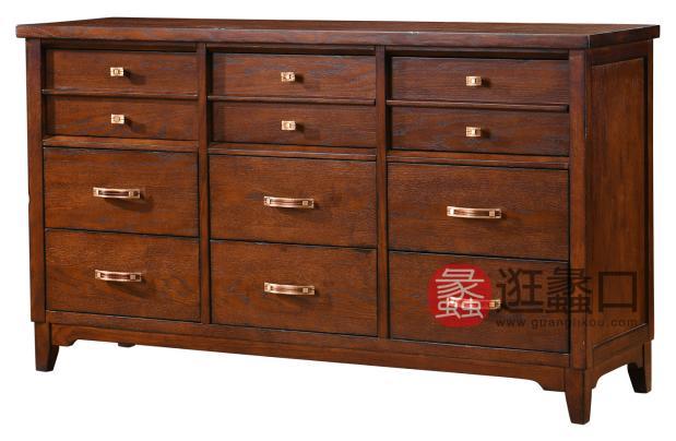 缇美家具美式客厅装饰柜/储物柜实木边柜WT-008边柜