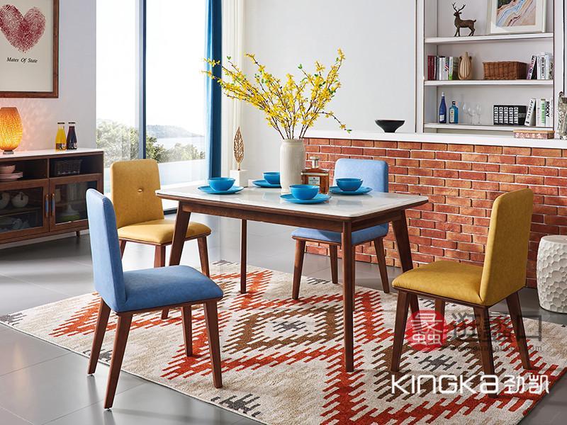 健辉家居·劲凯家具现代北欧餐厅北美白蜡木实木艺术简约餐桌椅组合
