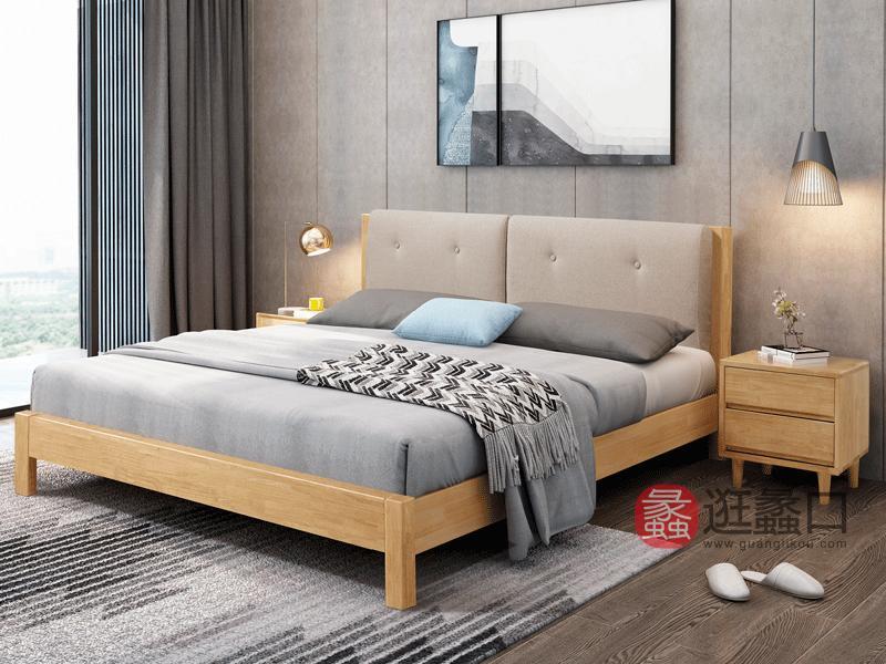 舒舍家具北欧卧室床实木床W03直脚软包床