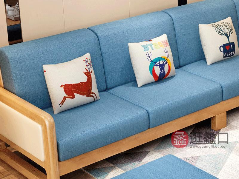 实木沙发K03软包沙发单人位+四人位+脚踏