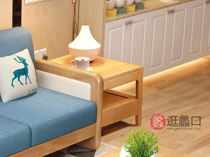 舒舍家具北欧客厅茶几/边几/角几实木橡胶木茶几方几K09双抽方几