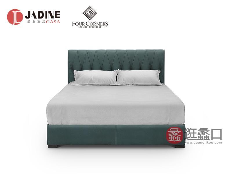 爵典家居·FC家具现代客厅个性舒适双人大床加床头柜