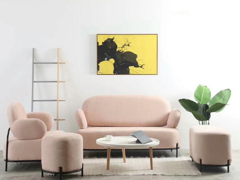 iHAY 北欧绒布铁艺喷涂沙发 1820019 粉色单人位78*62*80cm(无扶手)