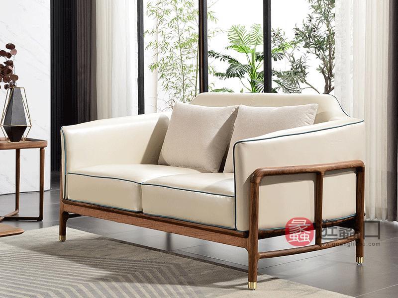 谛凡尼家具意式极简客厅沙发真皮实木沙发MYKJ-C02沙发两人位