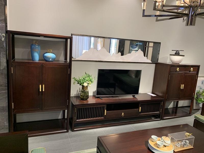 澜起家具新中式实木双层储物矮柜客厅电视机柜DG-03