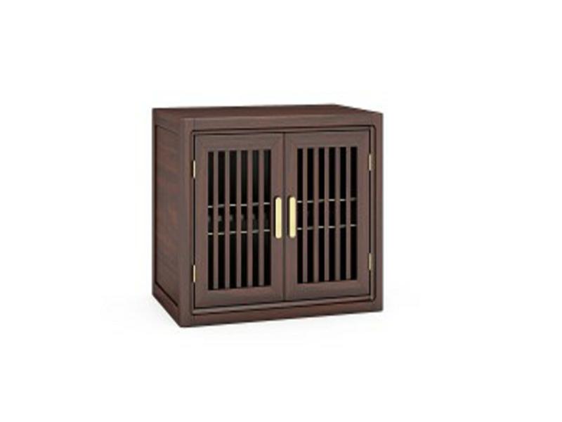 澜起家具新中式实木栅栏式镂空设计双开门储物收纳卧室床头柜CG-02