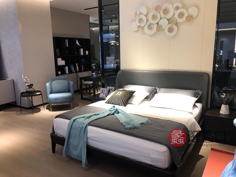 伊薇特家具意式现代极简实木皮质卧室双人床YS-206