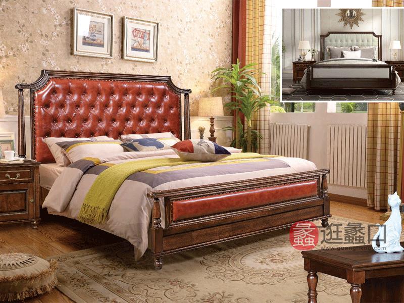 奥斯汀家具美式套房实木家具皮质床971#床