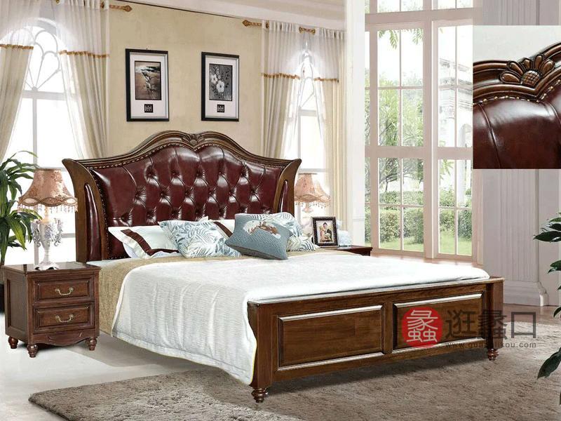 奥斯汀家具美式套房实木家具皮质床968#床