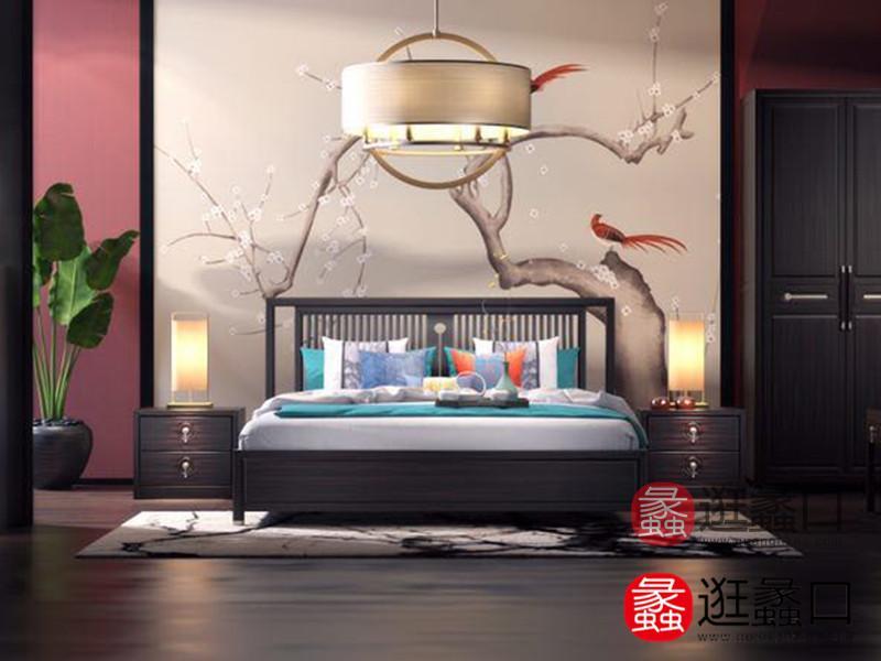 熙也家具新中式卧室简雅舒适双人大床+床头柜组合