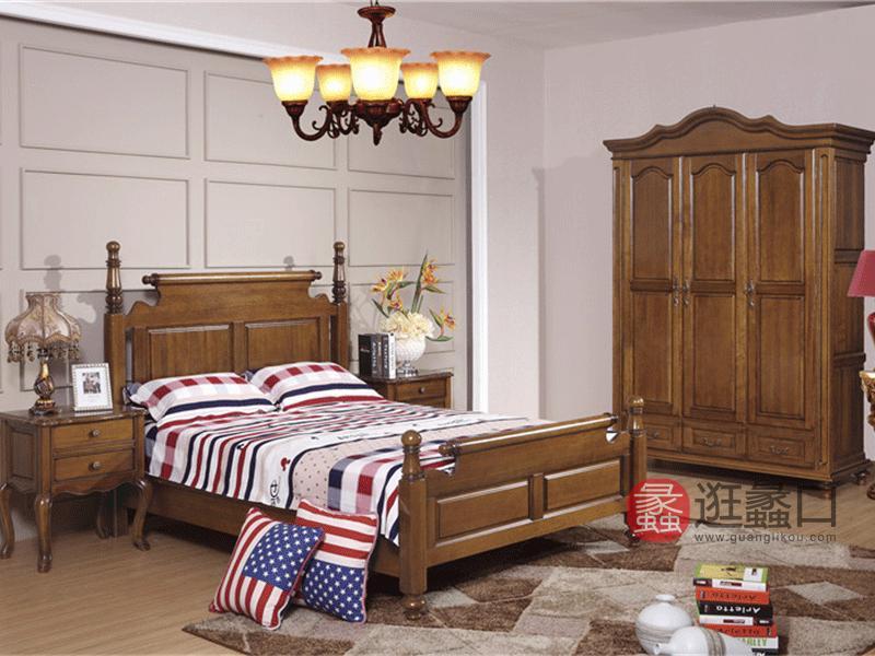 奥斯汀家具现代新美式卧室桃木双人大床和两个床头柜和衣柜组合