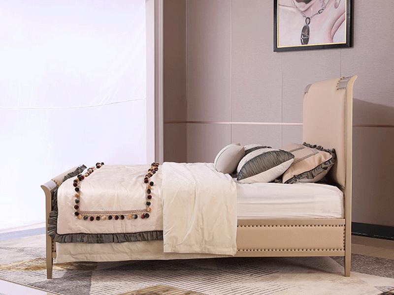 艾丽家具美式卧室床科技皮/布/进口头层牛皮床H8601床