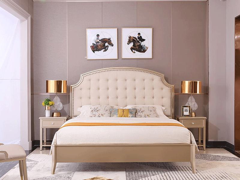 艾丽家具美式卧室床科技皮/布/进口头层牛皮床H8602床